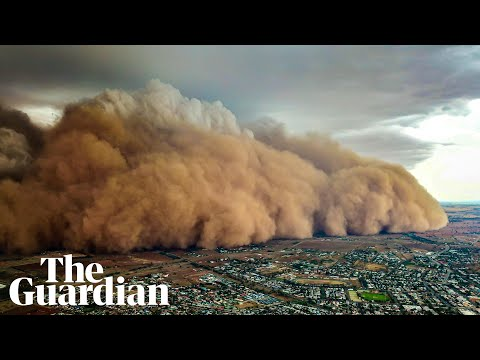 Drone footage shows massive dust storm sweeping across central New South Wales