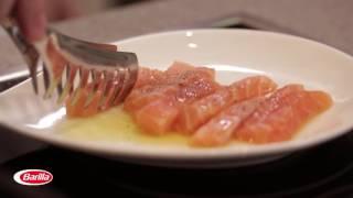 Fusilli with Pesto, Salmon and Green Peas