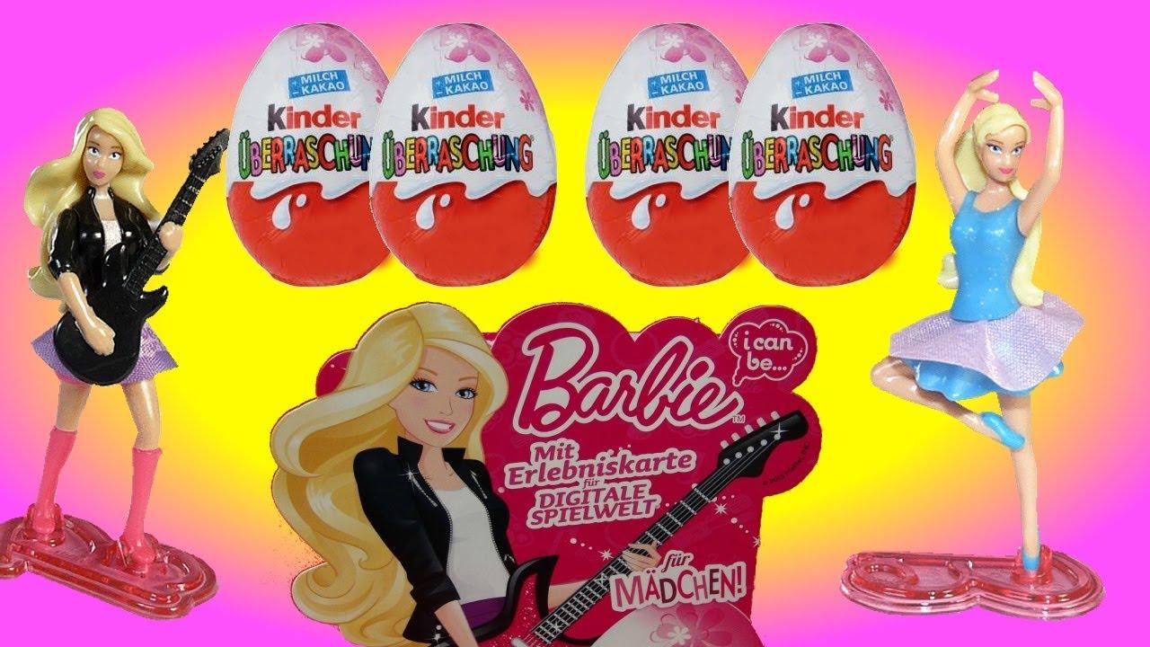 4 Surprise Eggs Kinder Surprise Barbie I Can Be Unboxing