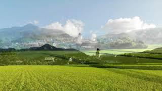 長閑な田園風景が広がる鹿野町。 鹿野温泉国民宿舎山紫苑の周りにも、た...