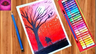 Romantic Couple scenery drawing with Oil Pastels - step by step
