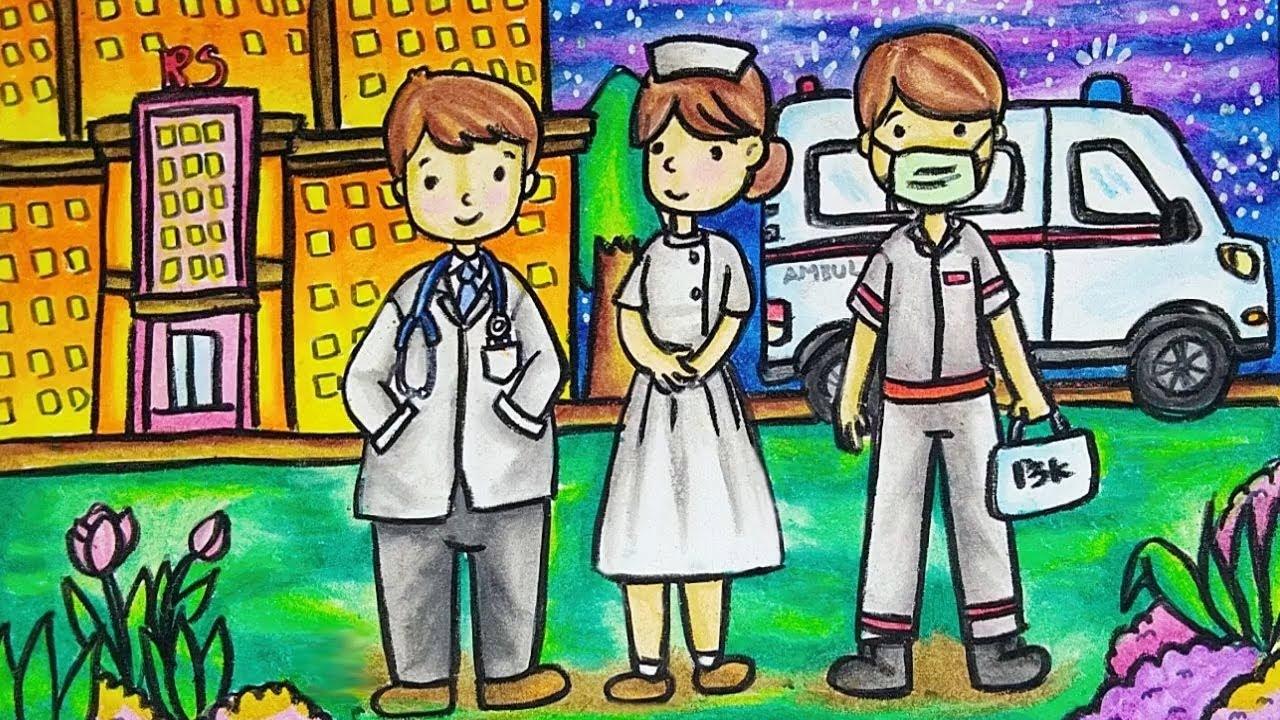 Cara Menggambar Dan Mewarnai Tema Profesi Dokter Perawat Dan Tenaga Medis Yang Bagus Dan Mudah