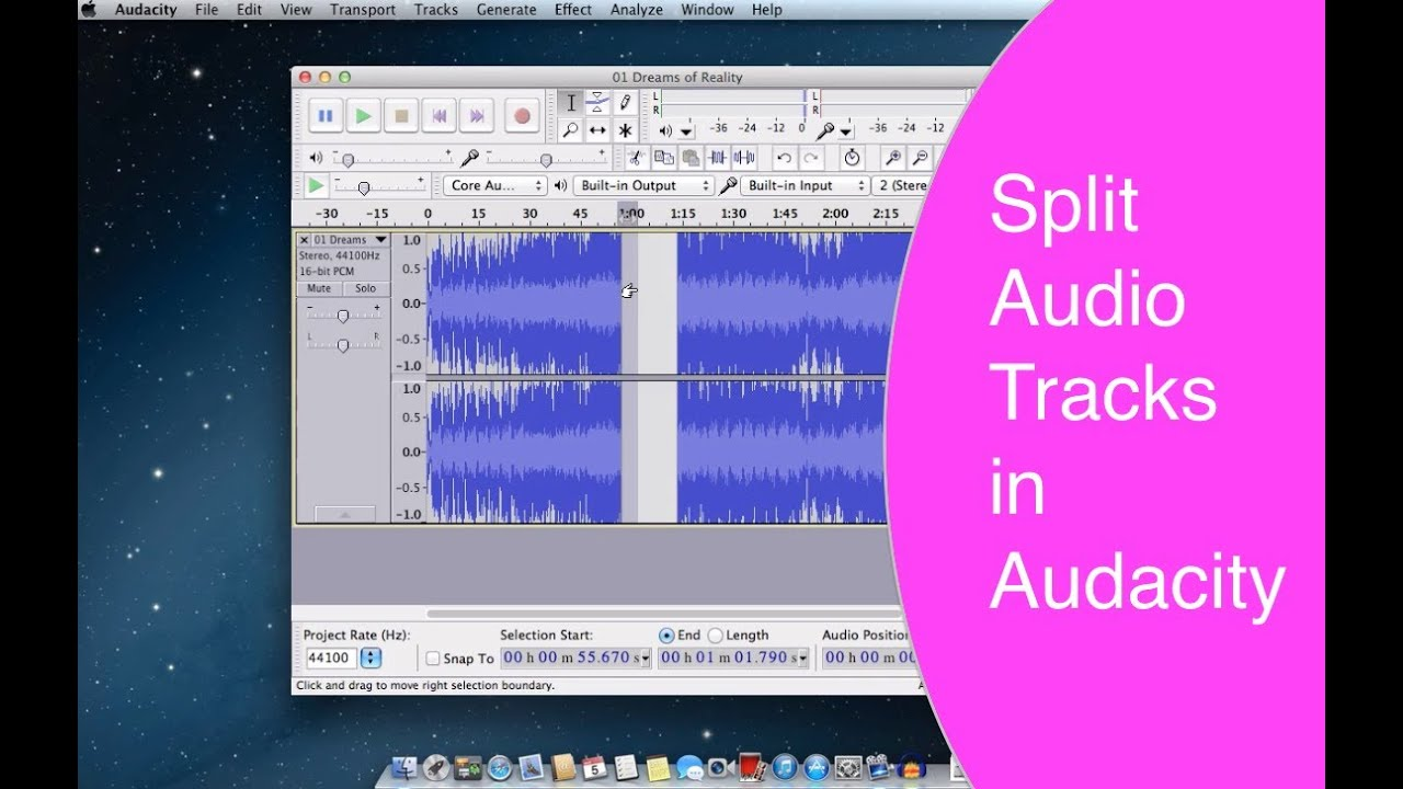 split audio tracks in audacity join them youtube. Black Bedroom Furniture Sets. Home Design Ideas