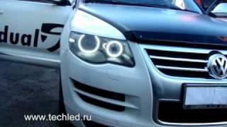 Volkswagen Touareg. Led headlights(Светодиодный тюнинг фар VW Touareg от Студии LedTechnology. Установлены светодиодные кольца и светодиодные модули..., 2010-09-22T21:09:25.000Z)