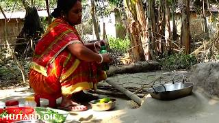 Rural women cooking soft springy Brinjal fry ll Indian village food Style
