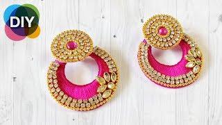 how to make beautiful earrings | silk thread earrings | chandbali silk thread earrings | |#diy |#160
