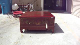 Red Leather Paint Lower Square Coffee Table Wk1558