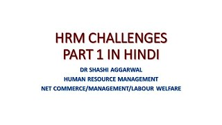 HRM CHALLENGES/RECENT TRENDS AND CHALLENGES IN HUMAN RESOURCE MANAGEMENT