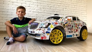 Cool tuning big Power Wheel Car. Sticker bombing Maybach. Video for kids.