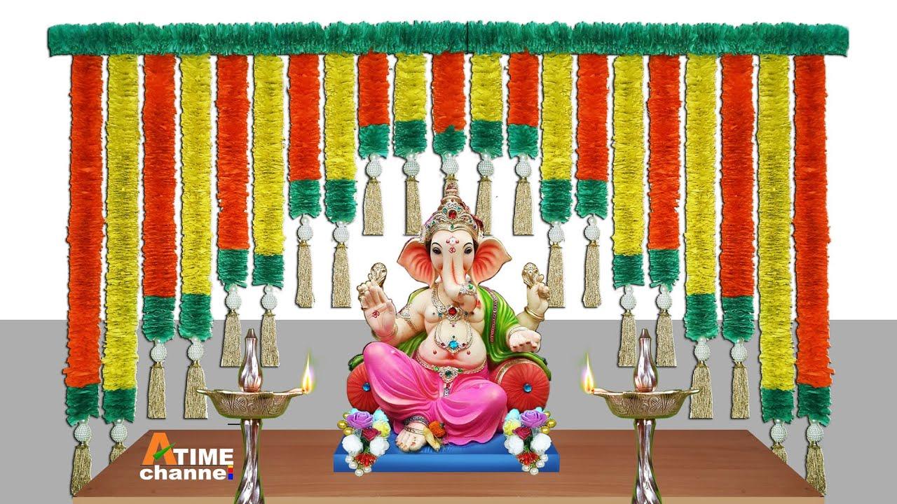 easy and simple ganpati decoration | eco friendly ganpati decoration | Marigold Paper Flower Toran .