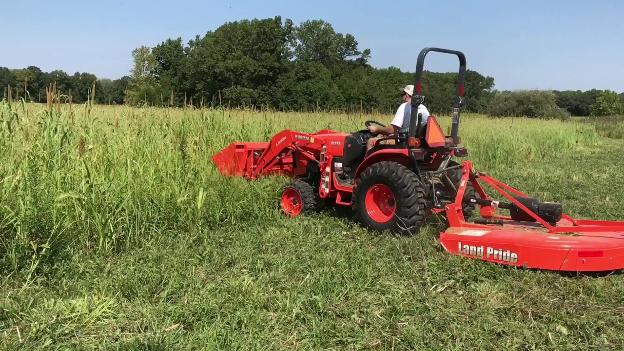 Kubota B2650 with Land Pride RCF2060 Rotary Cutter In Action!!