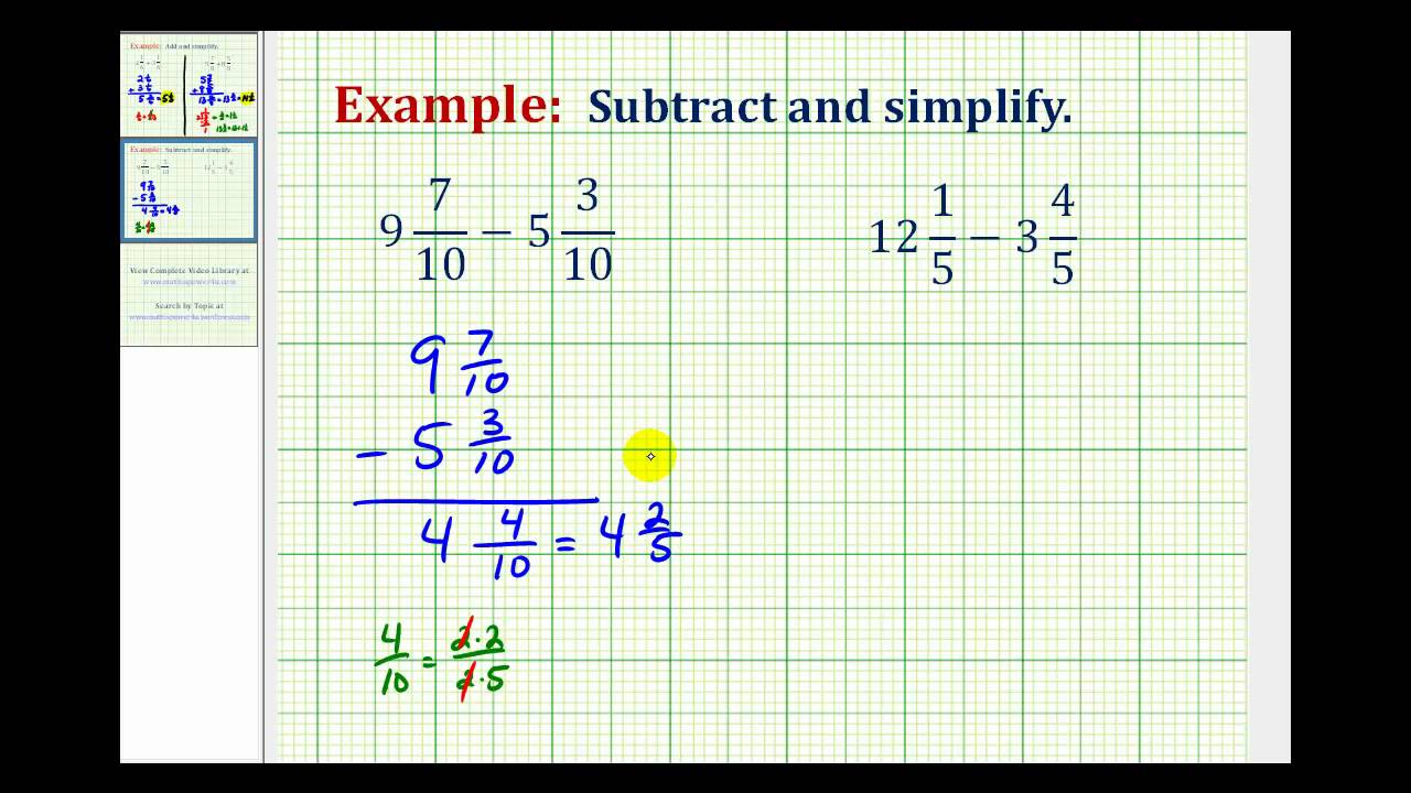 small resolution of Ex: Subtract Mixed Numbers with Like Denominators - YouTube