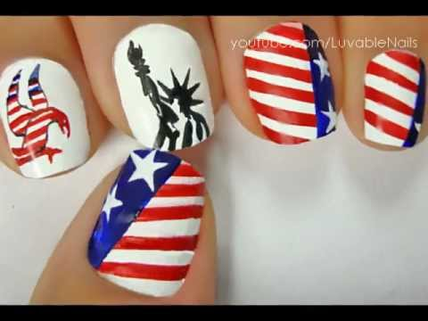 Memorial Day 2013 Nail Art By Luvablenails Youtube