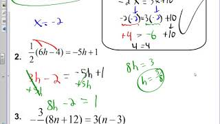 Algebra 1 - 1.3a - Variables on Both Sides and Fractions