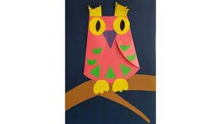 Сова. Аппликация из цветной бумаги. Поделки животных в школу. Птица.
