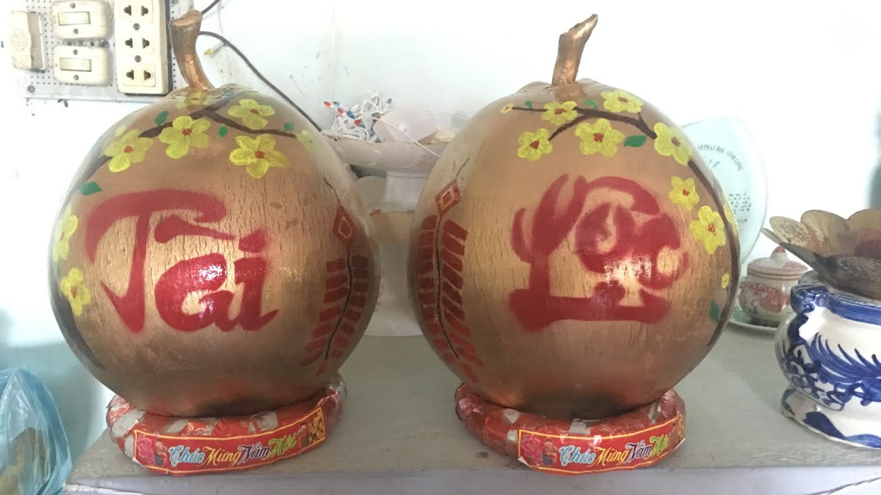 Cách vẽ trái cây (dừa) ngày tết đơn giản dễ làm