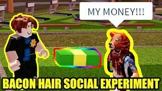 Bacon Hair Drops Cash SOCIAL EXPERIMENT | Roblox Jailbreak
