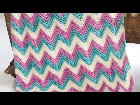 How To Crochet An Afghan Chevron Or Ripples In Any Size Youtube