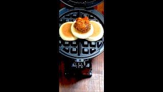 와플기계로 푸라닭블랙알리오 & 미니꿀호떡을 누르…
