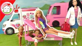 Barbie Film Krankenwagen - Unfall beim Surfen - Puppen Video für Kinder - Familie Hauser