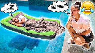HUSBAND WAKES UP IN SWIMMING POOL PRANK!! (BAD IDEA)