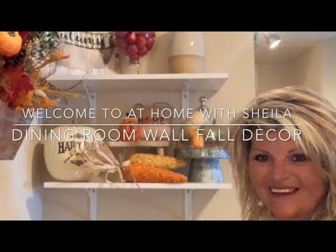 DINING ROOM FALL DECOR | FALL DECORATING |  DECORATE FOR FALL | DINING ROOM WALL | SHELF FALL DECOR