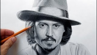 Джонни Депп - портрет карандашом (Johnny Depp - drawing portrait).