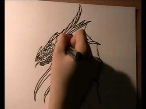 Schwarzen Drachen zeichnen / drawing a black dragon - Speedpainting ...