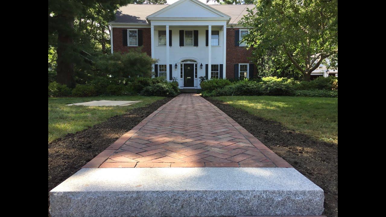 How to lay brick walkway - Barrington Brick Walkway Project Herringbone Pattern