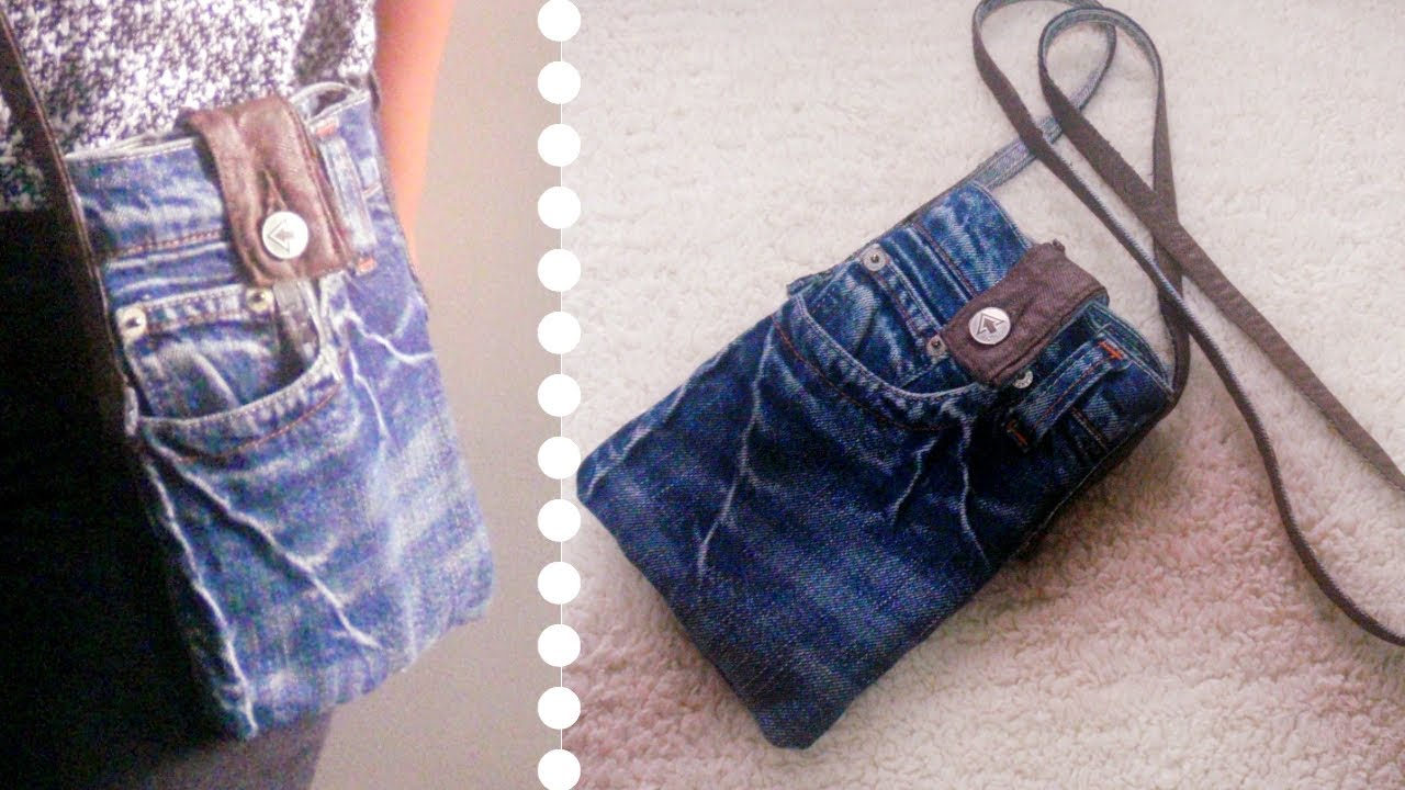 DIY Sling Bag for Phone Out of Old Jeans Simple  Easy  Recycled Craft  YouTube