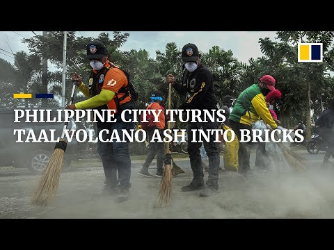 Philippine city makes bricks from Taal Volcano ash for reconstruction work