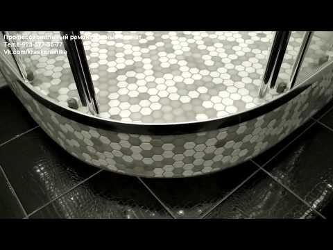 Душевая кабина мозаика (радиус). Ванная комната Белые росы