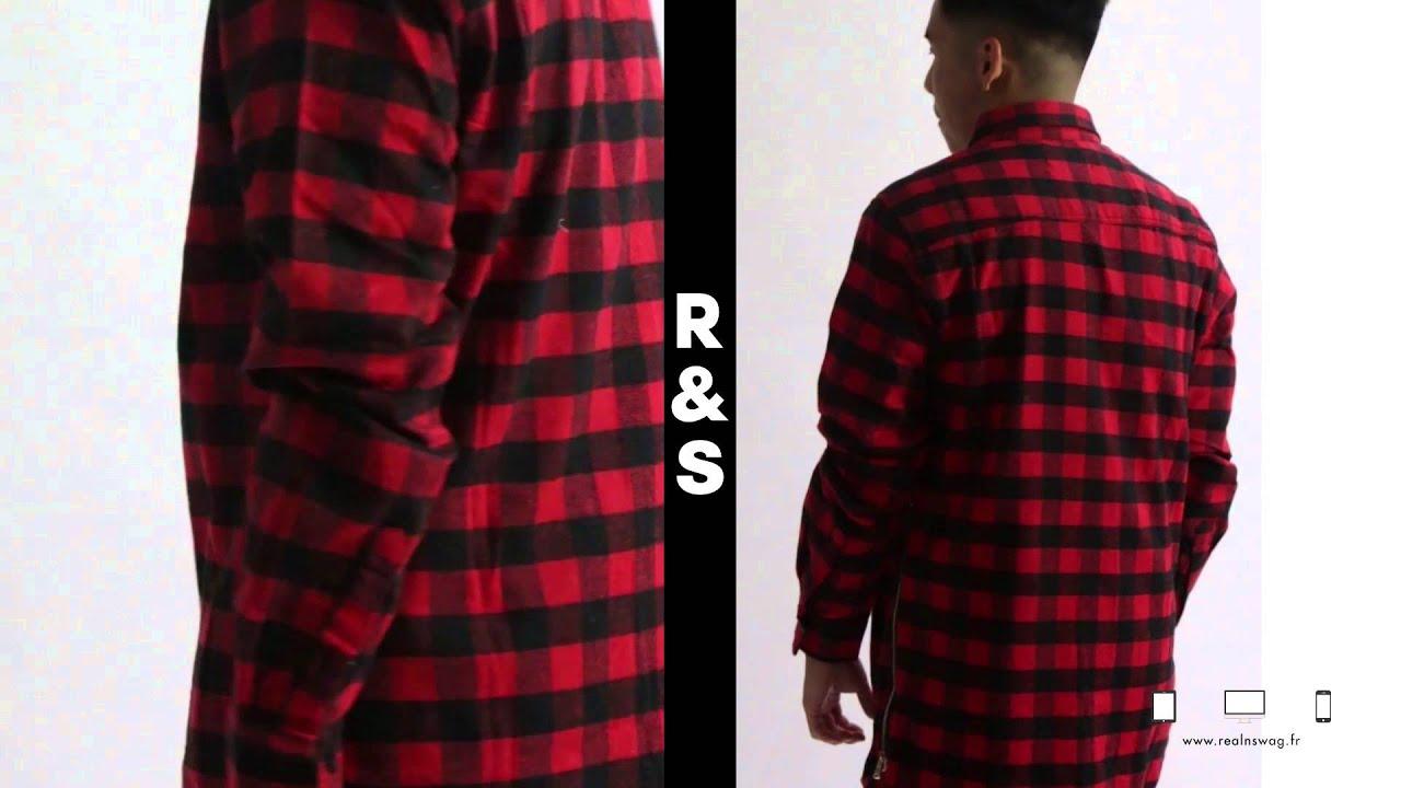 chemise carreaux berysquad rouge youtube. Black Bedroom Furniture Sets. Home Design Ideas