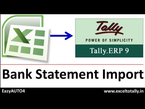 Import Bank E-Statements from Excel to Tally as is downloaded from Banks