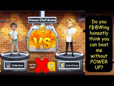 VR: Will GoldenBear Win Gordon Ramsay Without POWER UPs??? (Restaurant Dash - Chef Arena)