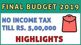 Budget 2019 Highlights | Income Tax FY 2019-20 AY 2020-21 | FinCalC TV