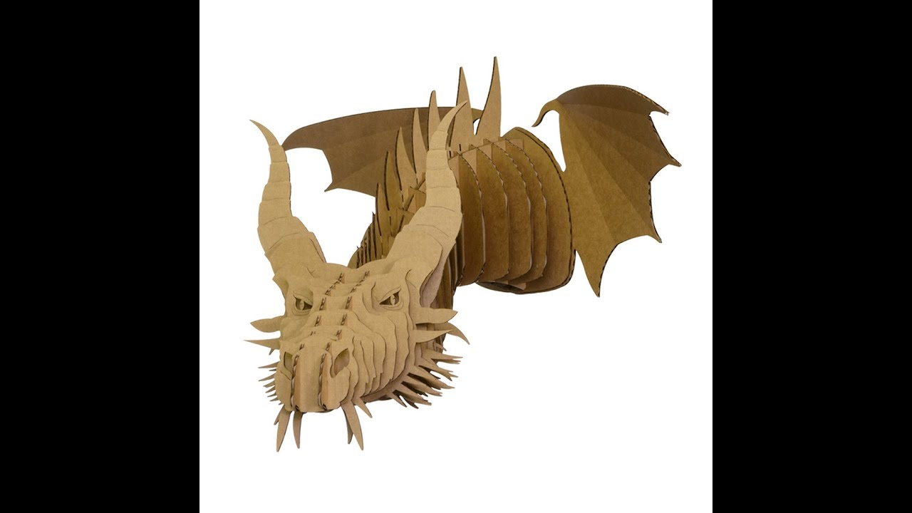 Dragon assembly video youtube for Cardboard dragon template