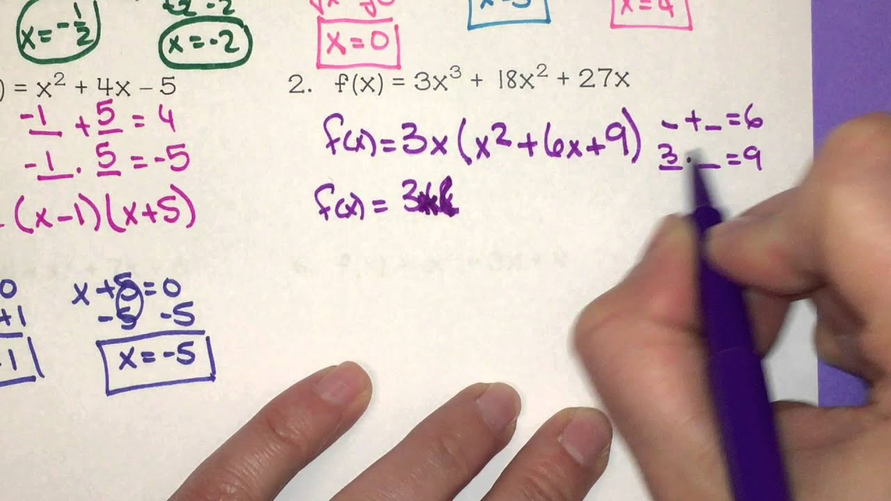 Solving Polynomial Equations By Factoring Using A Graphing Calculator And Using The Quadratic