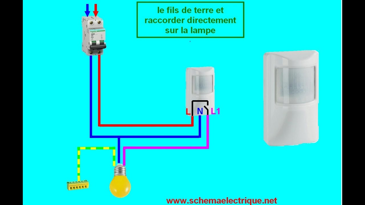 Schema branchement cablage d tecteur de mouvement youtube for Interrupteur sans fil exterieur