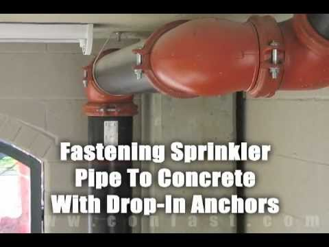 Fastening Sprinkler Pipe To Concrete Using Hilti Drop In
