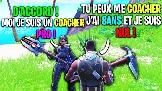 I pretend to be a NOOB of 8ANS facing this COACHER on Fortnite! Here's the result...