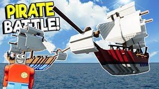 LEGO PIRATE SHIP BATTLE CHALLENGE! - Brick Rigs Gameplay Challenge - Lego Ship Crashes