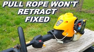 Fixing a pull rope that won't retract.