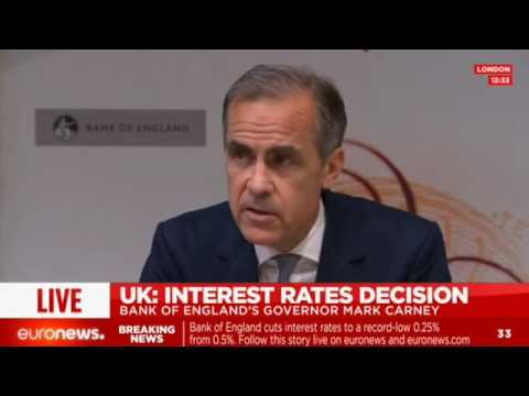 LIVE: Bank of England governor announces cut in interest rates