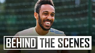 AUBAMEYANG WITH A WORLDIE! | Behind the scenes at Arsenal training centre