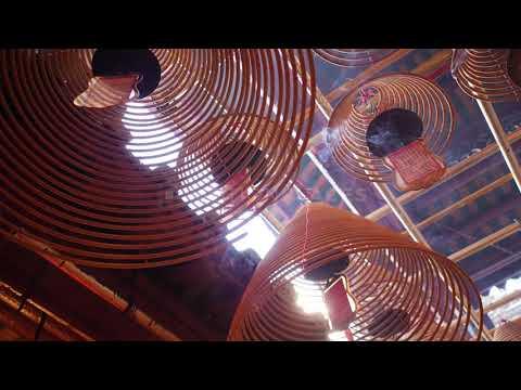 Hong Kong Man Mo Temple Incense Detail Stock Footage