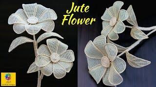 How to Make a burlap Jute Flower | DIY Rope Flower | Jute Craft Decoration Design