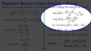 Mechanics: Resisted motion with gravity, velocity squared