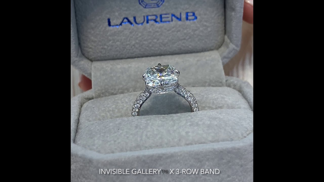 4.5 carat Cushion Cut Diamond Invisible Gallery Ring