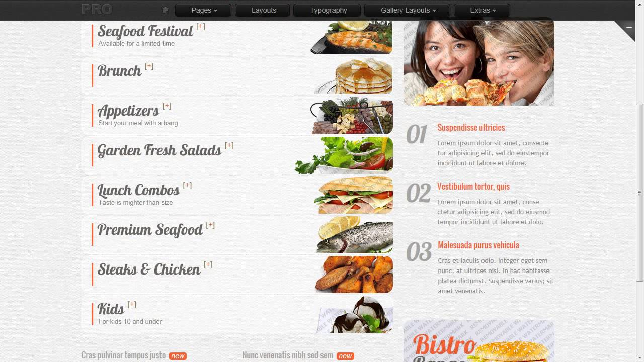 catering website template youtube